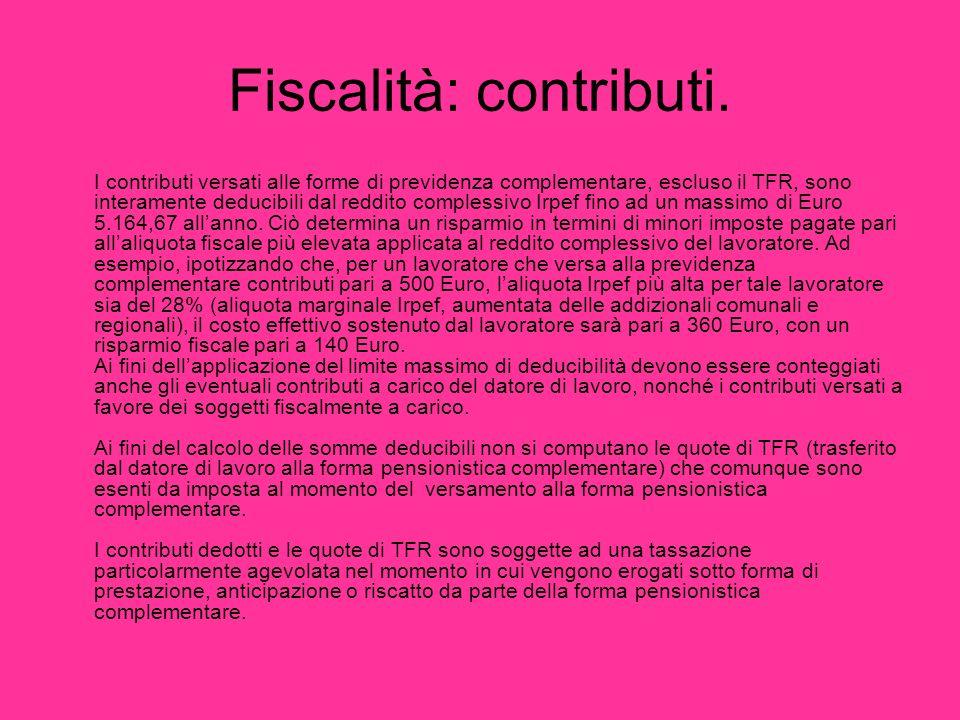 Fiscalità: contributi. I contributi versati alle forme di previdenza complementare, escluso il TFR, sono interamente deducibili dal reddito complessiv