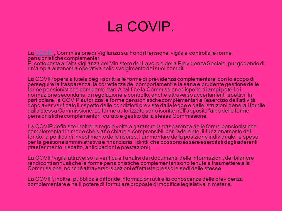 La COVIP. La COVIP, Commissione di Vigilanza sui Fondi Pensione, vigila e controlla le forme pensionistiche complementari. E sottoposta allalta vigila