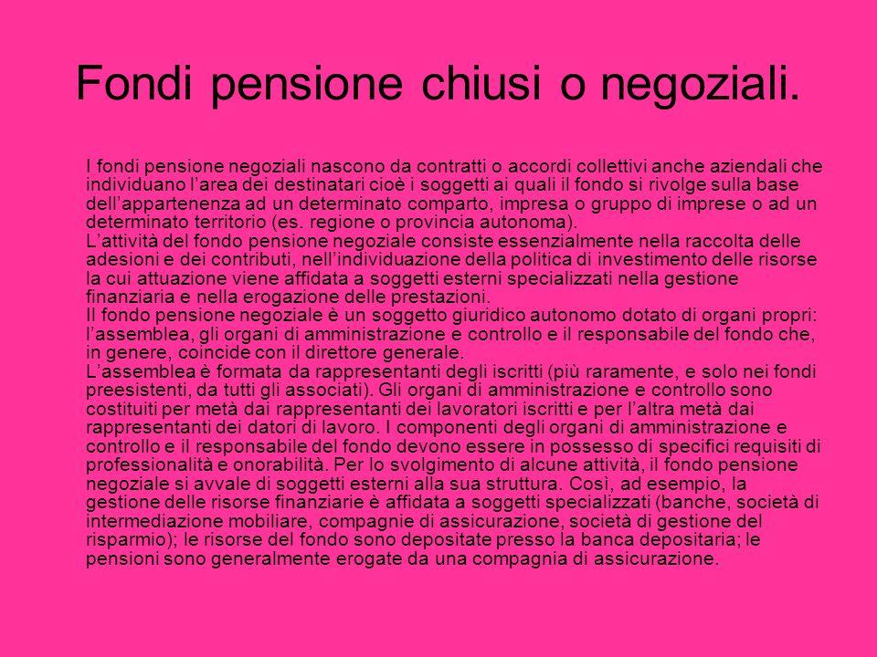 Fondi pensione chiusi o negoziali. I fondi pensione negoziali nascono da contratti o accordi collettivi anche aziendali che individuano larea dei dest