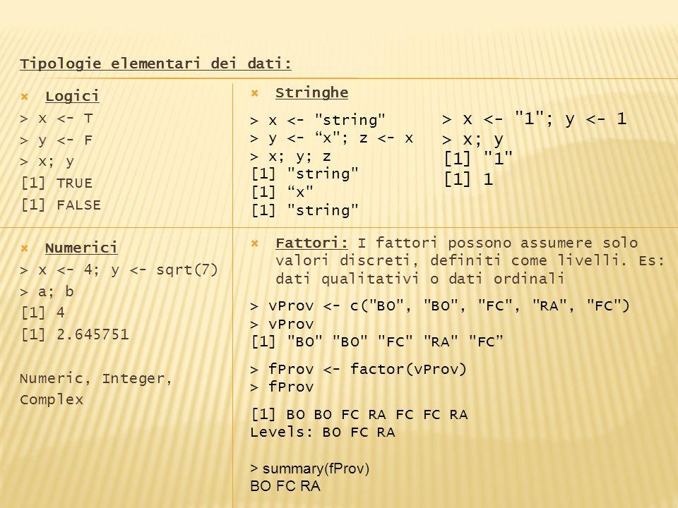 Tipologie elementari dei dati: Logici > x <- T > y <- F > x; y [1] TRUE [1] FALSE Numerici > x <- 4; y <- sqrt(7) > a; b [1] 4 [1] 2.645751 Numeric, I