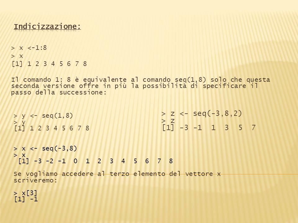 > x <-1:8 > x [1] 1 2 3 4 5 6 7 8 Il comando 1: 8 è equivalente al comando seq(1,8) solo che questa seconda versione offre in più la possibilità di sp