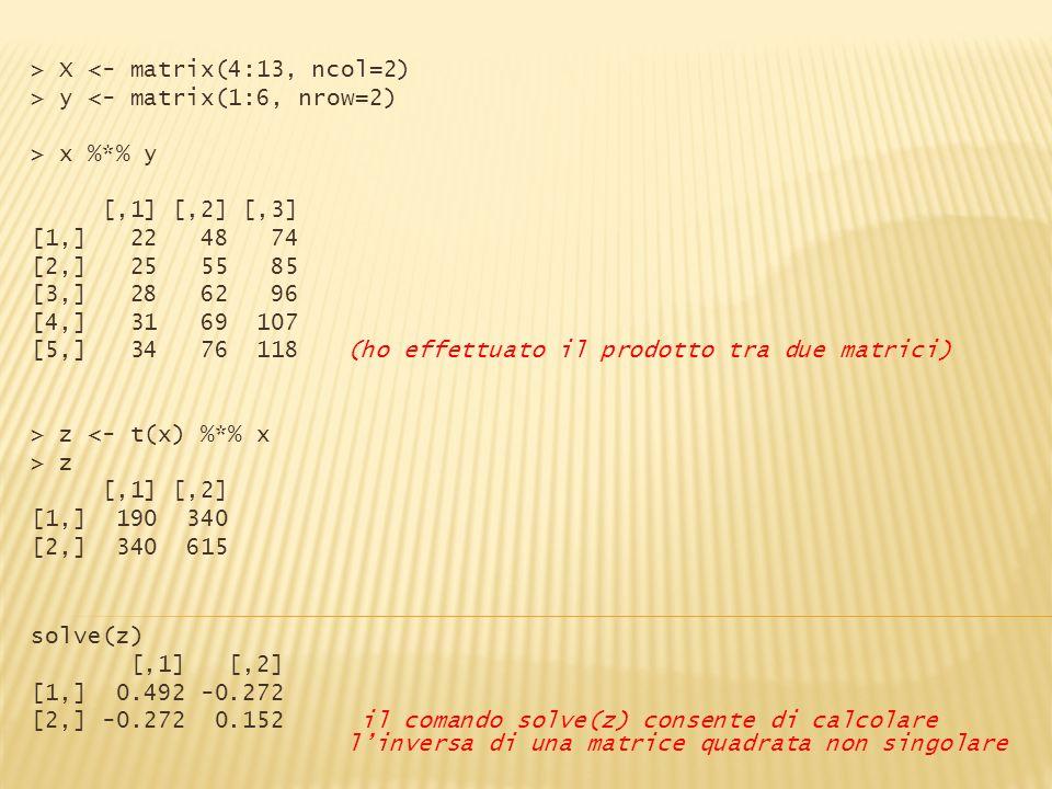> X <- matrix(4:13, ncol=2) > y <- matrix(1:6, nrow=2) > x %*% y [,1] [,2] [,3] [1,] 22 48 74 [2,] 25 55 85 [3,] 28 62 96 [4,] 31 69 107 [5,] 34 76 11