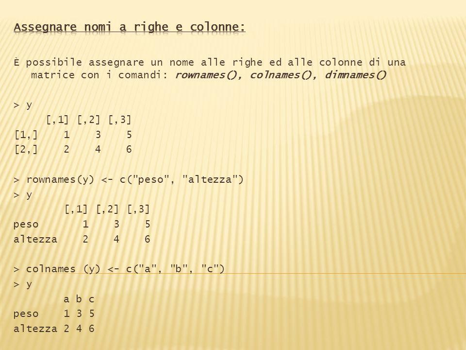 È possibile assegnare un nome alle righe ed alle colonne di una matrice con i comandi: rownames(), colnames(), dimnames() > y [,1] [,2] [,3] [1,] 1 3