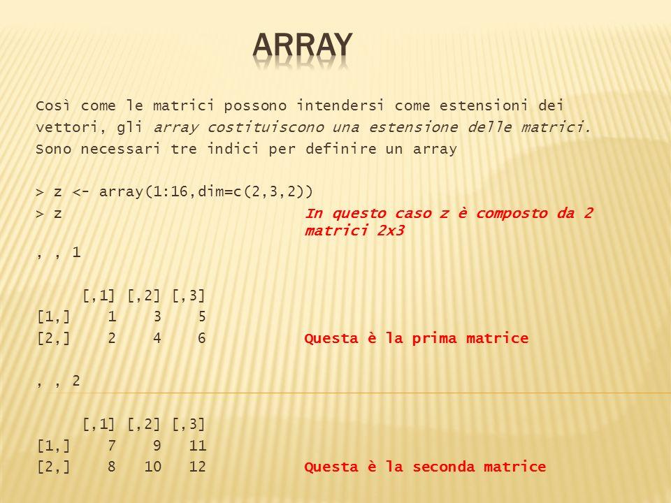 Così come le matrici possono intendersi come estensioni dei vettori, gli array costituiscono una estensione delle matrici. Sono necessari tre indici p