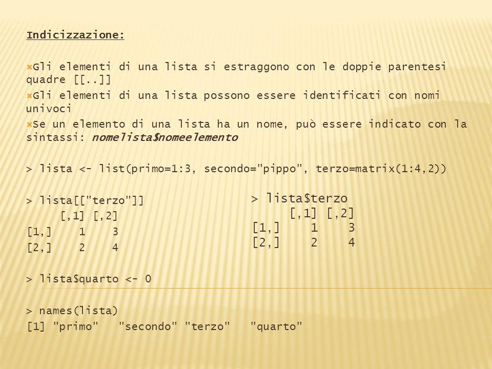 Indicizzazione: Gli elementi di una lista si estraggono con le doppie parentesi quadre [[..]] Gli elementi di una lista possono essere identificati co