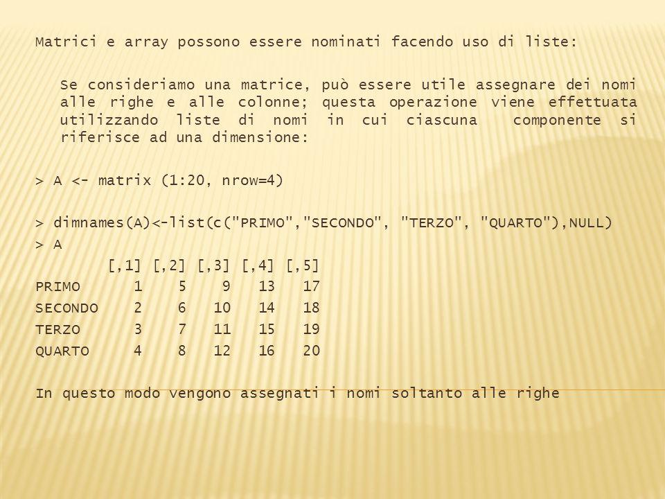 Matrici e array possono essere nominati facendo uso di liste: Se consideriamo una matrice, può essere utile assegnare dei nomi alle righe e alle colon