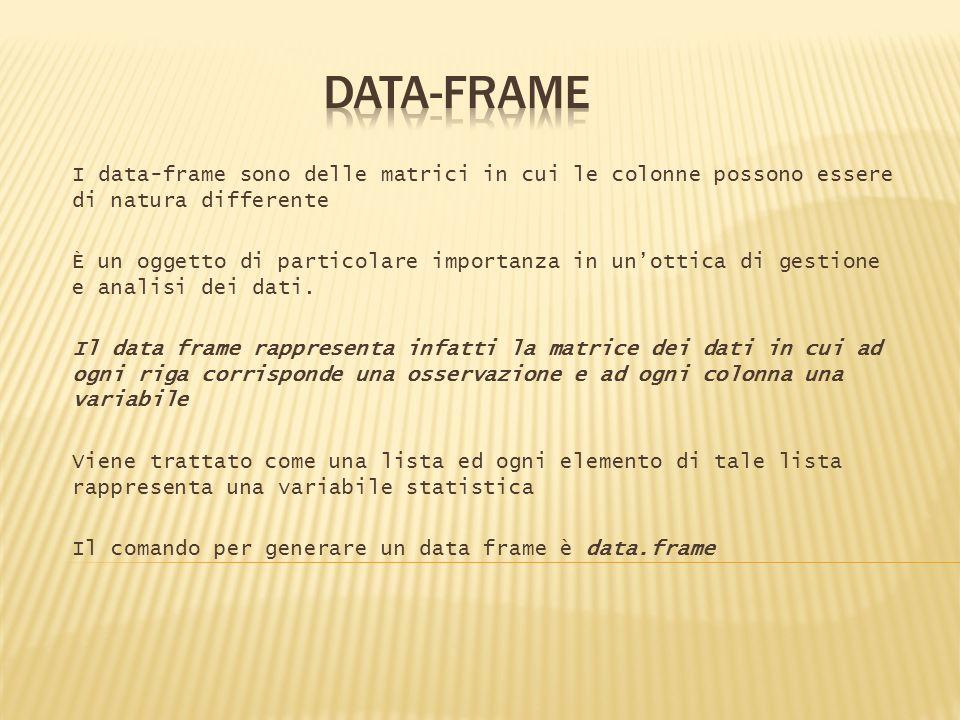 I data-frame sono delle matrici in cui le colonne possono essere di natura differente È un oggetto di particolare importanza in unottica di gestione e