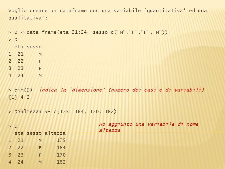 Voglio creare un dataframe con una variabile `quantitativa' ed una qualitativa': > D <-data.frame(eta=21:24, sesso=c(