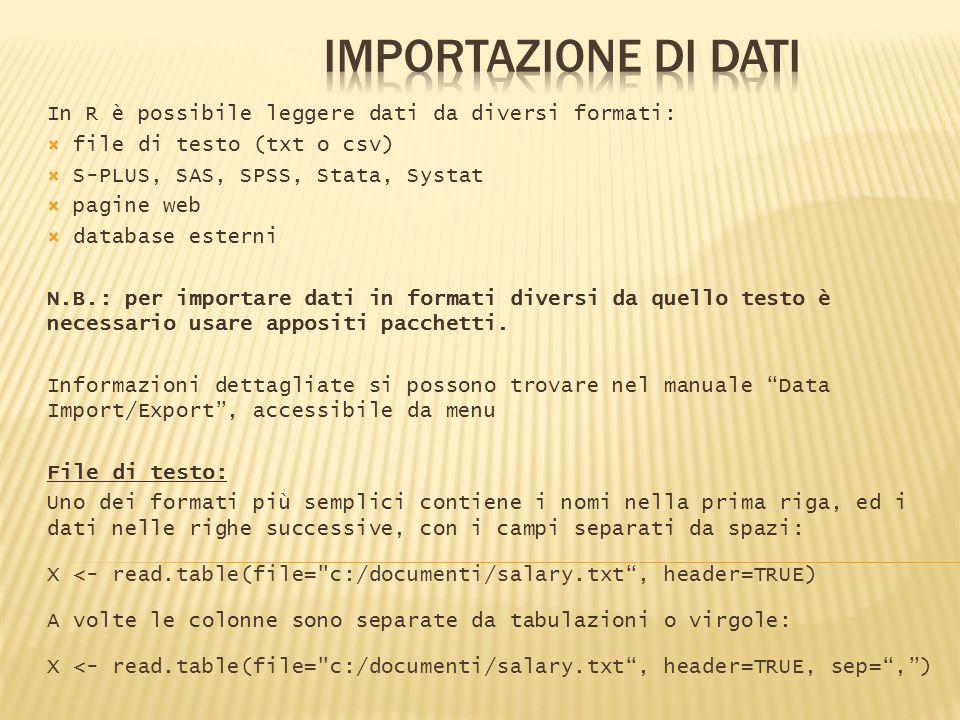 In R è possibile leggere dati da diversi formati: file di testo (txt o csv) S-PLUS, SAS, SPSS, Stata, Systat pagine web database esterni N.B.: per imp