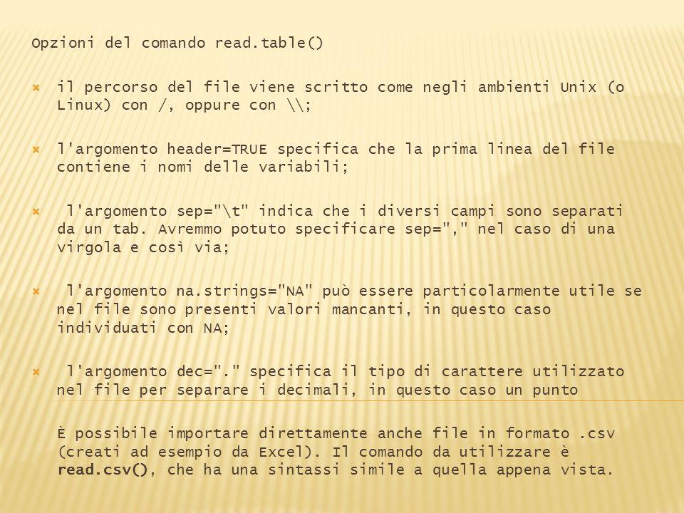 Opzioni del comando read.table() il percorso del file viene scritto come negli ambienti Unix (o Linux) con /, oppure con \\; l'argomento header=TRUE s