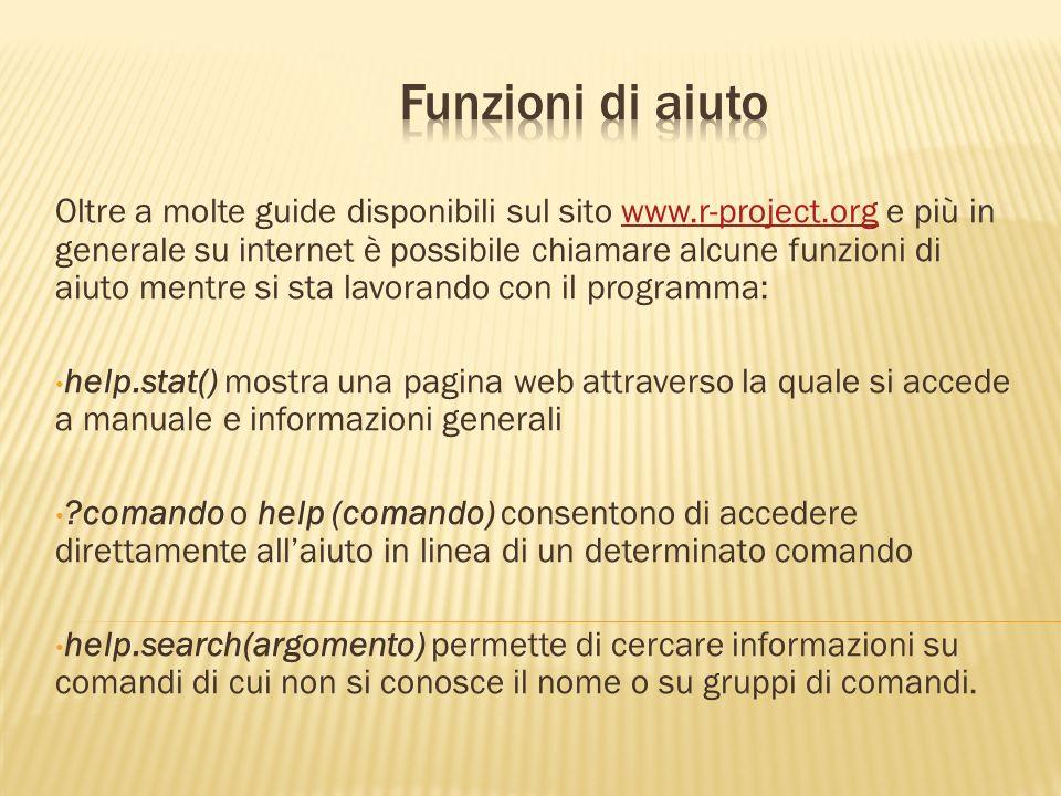 Oltre a molte guide disponibili sul sito www.r-project.org e più in generale su internet è possibile chiamare alcune funzioni di aiuto mentre si sta l