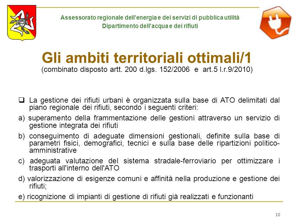 10 Gli ambiti territoriali ottimali/1 (combinato disposto artt. 200 d.lgs. 152/2006 e art.5 l.r.9/2010) La gestione dei rifiuti urbani è organizzata s