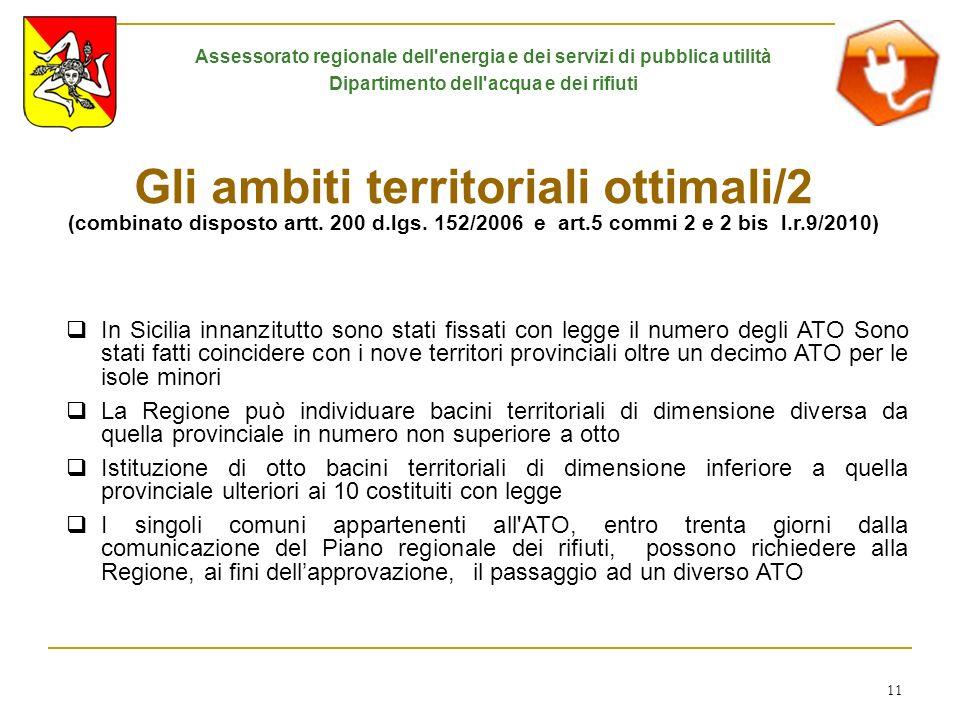 11 Gli ambiti territoriali ottimali/2 (combinato disposto artt. 200 d.lgs. 152/2006 e art.5 commi 2 e 2 bis l.r.9/2010) In Sicilia innanzitutto sono s