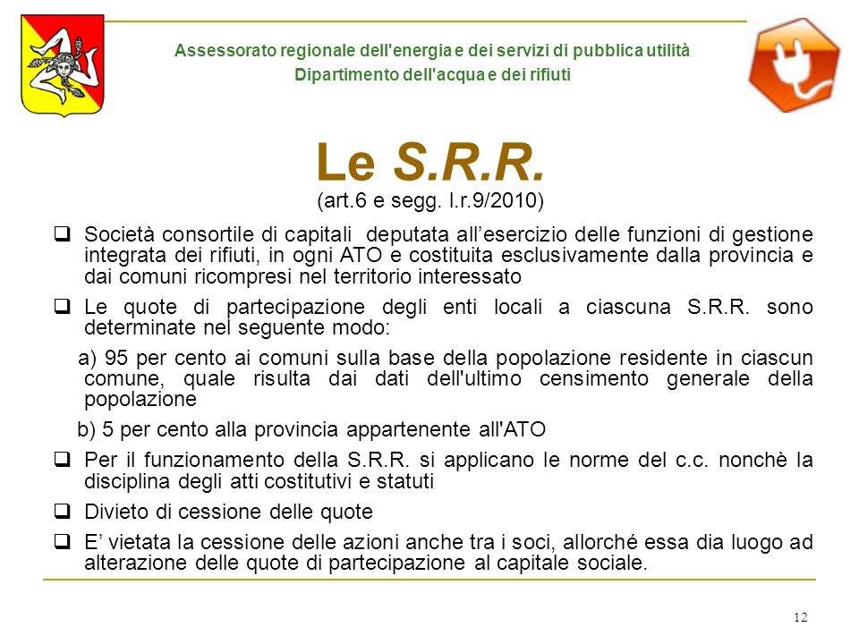 12 Le S.R.R. (art.6 e segg. l.r.9/2010) Società consortile di capitali deputata allesercizio delle funzioni di gestione integrata dei rifiuti, in ogni