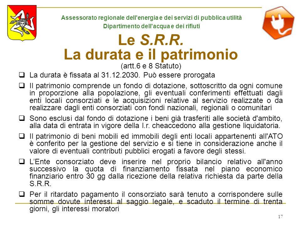 17 Le S.R.R. La durata e il patrimonio (artt.6 e 8 Statuto) La durata è fissata al 31.12.2030. Può essere prorogata Il patrimonio comprende un fondo d