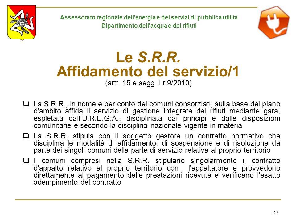 22 Le S.R.R. Affidamento del servizio/1 (artt. 15 e segg. l.r.9/2010) La S.R.R., in nome e per conto dei comuni consorziati, sulla base del piano d'am