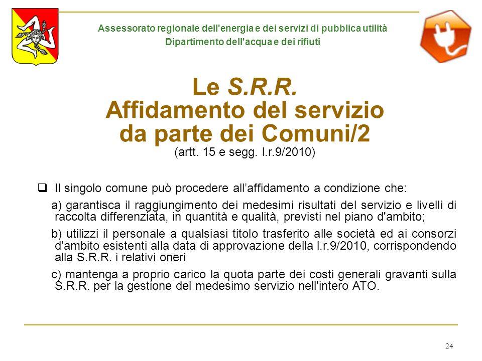 24 Le S.R.R. Affidamento del servizio da parte dei Comuni/2 (artt. 15 e segg. l.r.9/2010) Il singolo comune può procedere allaffidamento a condizione