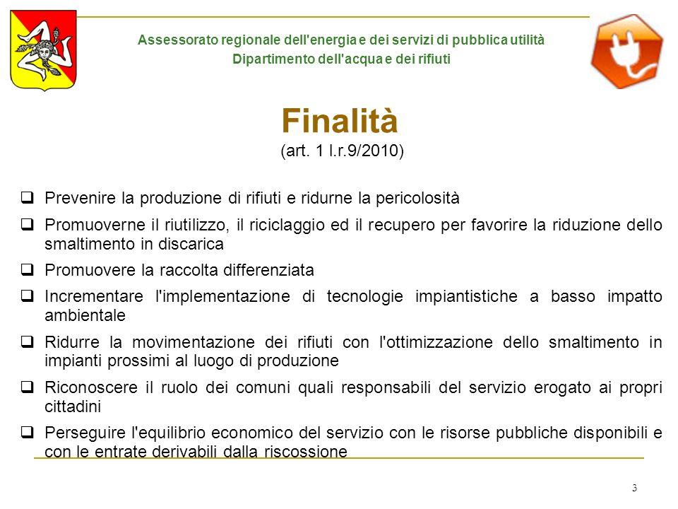 3 Finalità (art. 1 l.r.9/2010) Prevenire la produzione di rifiuti e ridurne la pericolosità Promuoverne il riutilizzo, il riciclaggio ed il recupero p