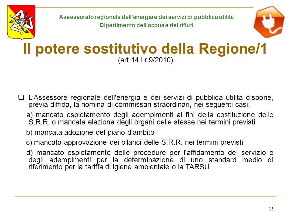 35 Il potere sostitutivo della Regione/1 (art.14 l.r.9/2010) LAssessore regionale dell'energia e dei servizi di pubblica utilità dispone, previa diffi