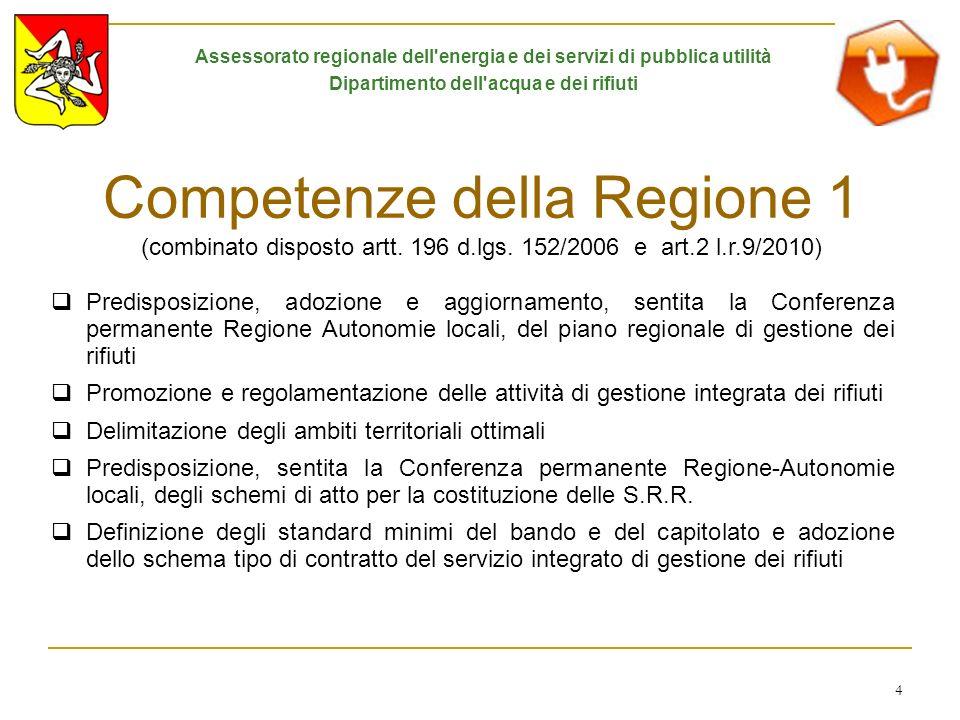 4 Competenze della Regione 1 (combinato disposto artt. 196 d.lgs. 152/2006 e art.2 l.r.9/2010) Predisposizione, adozione e aggiornamento, sentita la C