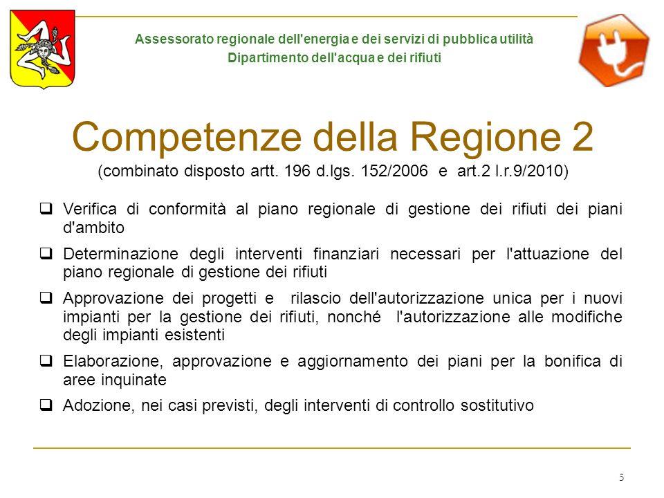 5 Competenze della Regione 2 (combinato disposto artt. 196 d.lgs. 152/2006 e art.2 l.r.9/2010) Verifica di conformità al piano regionale di gestione d
