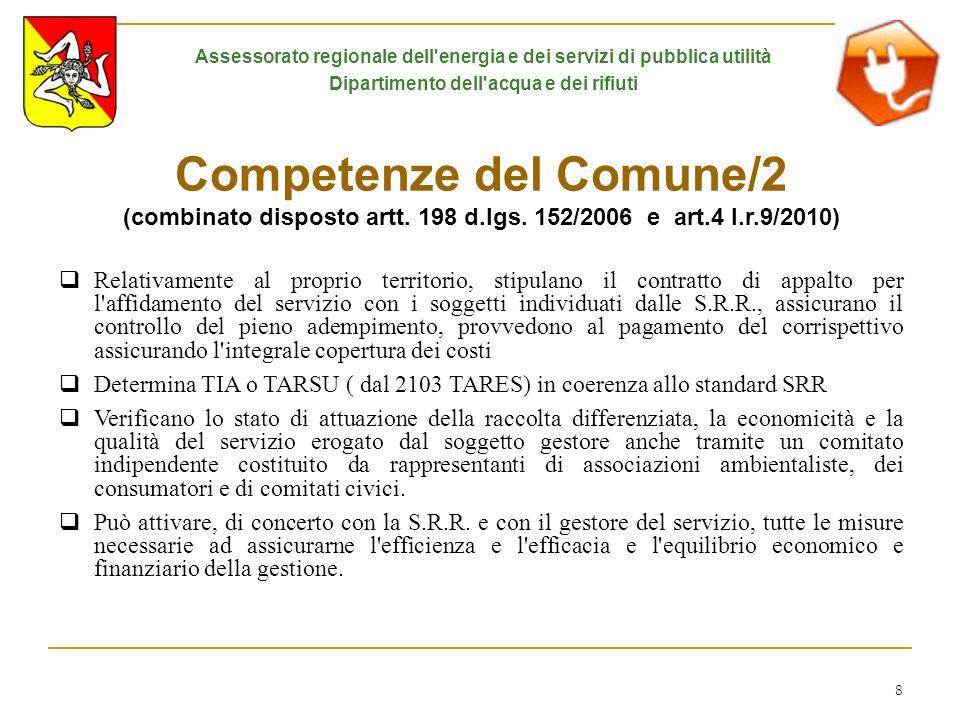 8 Competenze del Comune/2 (combinato disposto artt. 198 d.lgs. 152/2006 e art.4 l.r.9/2010) Relativamente al proprio territorio, stipulano il contratt