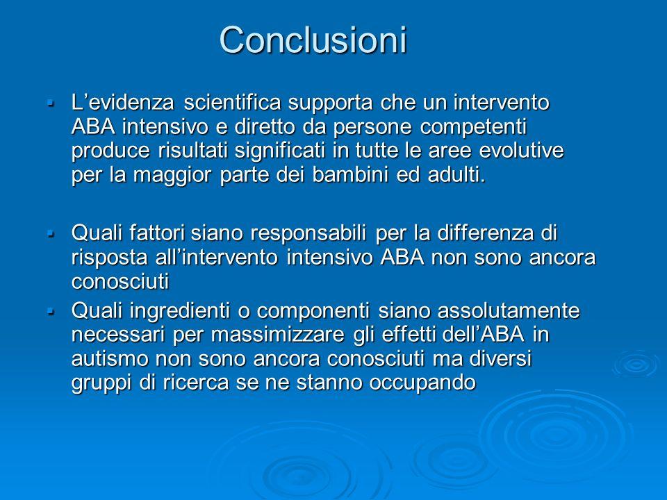 Conclusioni Levidenza scientifica supporta che un intervento ABA intensivo e diretto da persone competenti produce risultati significati in tutte le a