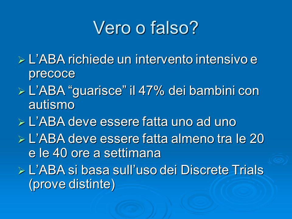 Vero o falso? LABA richiede un intervento intensivo e precoce LABA richiede un intervento intensivo e precoce LABA guarisce il 47% dei bambini con aut
