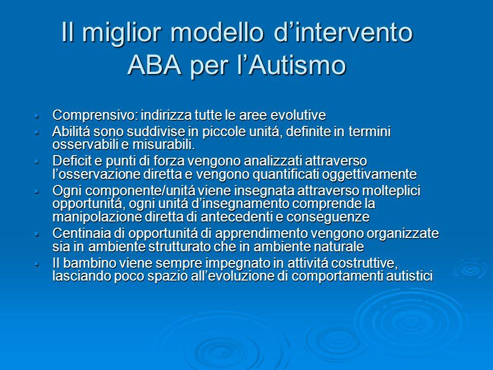 Il miglior modello dintervento ABA per lAutismo Comprensivo: indirizza tutte le aree evolutive Comprensivo: indirizza tutte le aree evolutive Abilitá