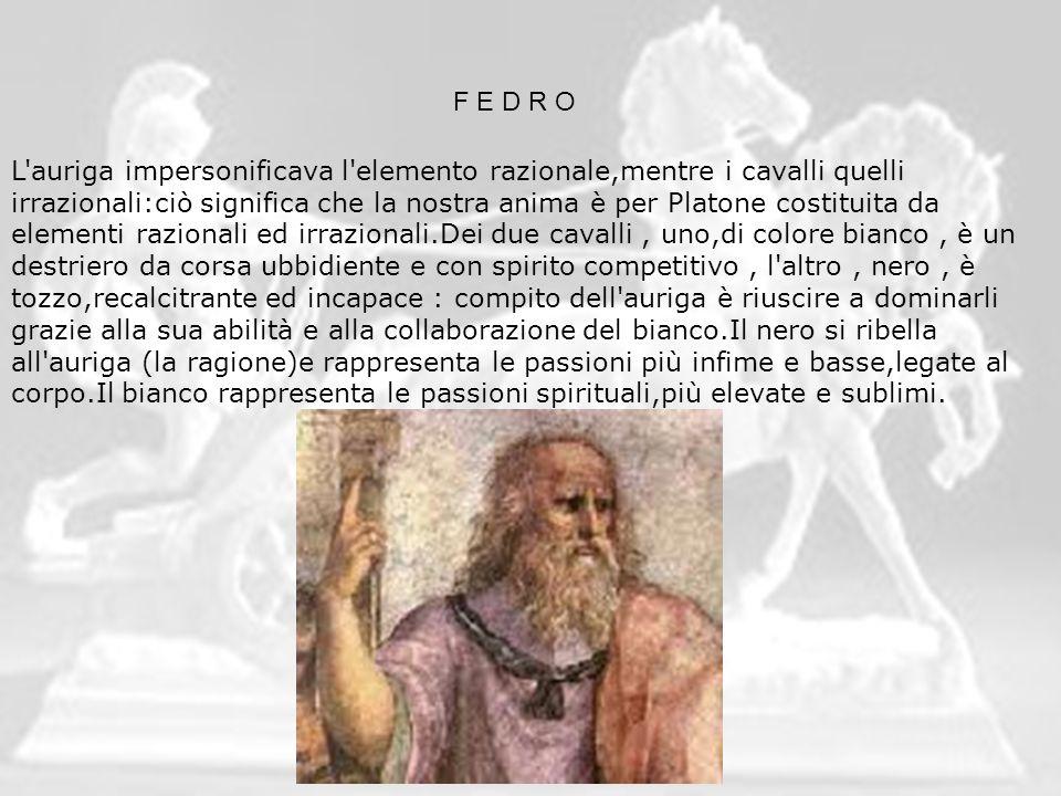 F E D R O L'auriga impersonificava l'elemento razionale,mentre i cavalli quelli irrazionali:ciò significa che la nostra anima è per Platone costituita