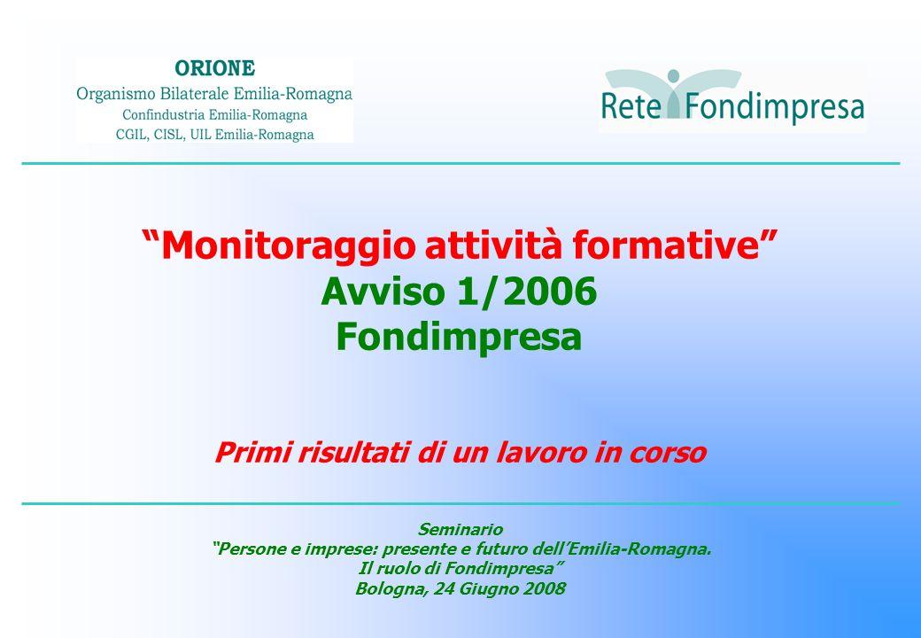 Monitoraggio attività formative Avviso 1/2006 Fondimpresa Primi risultati di un lavoro in corso Seminario Persone e imprese: presente e futuro dellEmi