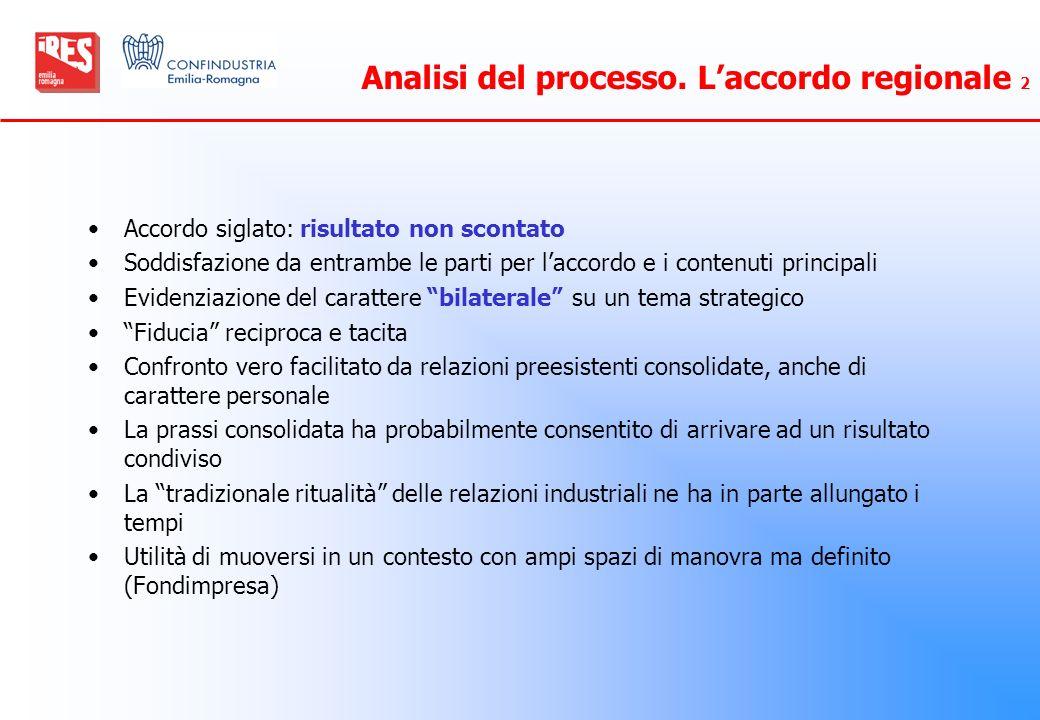 Analisi del processo. Laccordo regionale 2 Accordo siglato: risultato non scontato Soddisfazione da entrambe le parti per laccordo e i contenuti princ