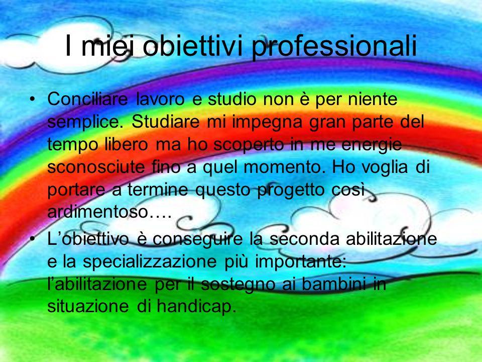I miei obiettivi professionali Conciliare lavoro e studio non è per niente semplice. Studiare mi impegna gran parte del tempo libero ma ho scoperto in