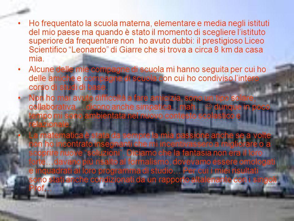 Post Maturità scientifica Mi sono iscritta a Giurisprudenza presso lAteneo di Catania.