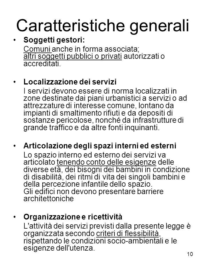 10 Caratteristiche generali Soggetti gestori: Comuni anche in forma associata; altri soggetti pubblici o privati autorizzati o accreditati. Localizzaz