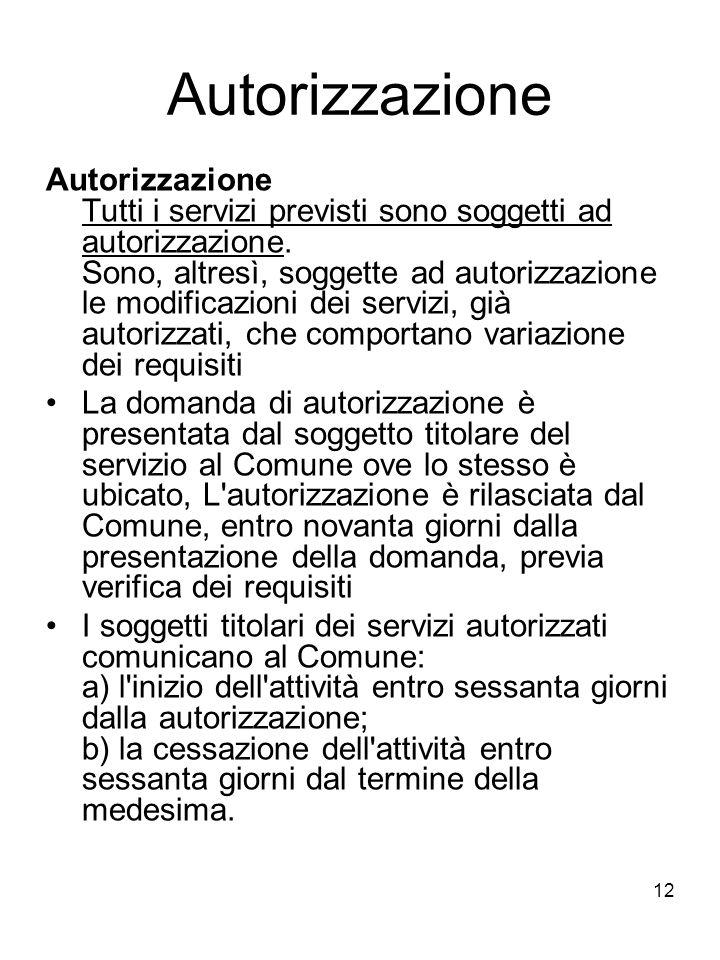 12 Autorizzazione Autorizzazione Tutti i servizi previsti sono soggetti ad autorizzazione. Sono, altresì, soggette ad autorizzazione le modificazioni