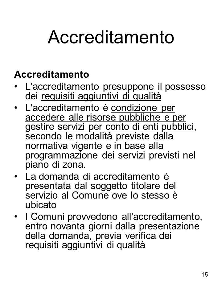 15 Accreditamento L'accreditamento presuppone il possesso dei requisiti aggiuntivi di qualità L'accreditamento è condizione per accedere alle risorse