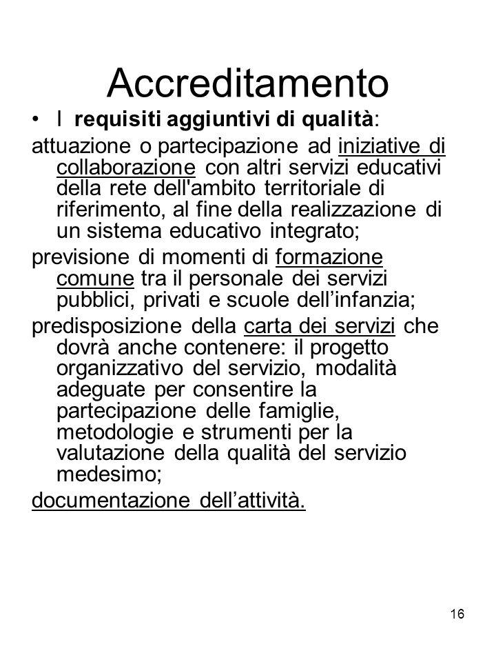16 Accreditamento I requisiti aggiuntivi di qualità: attuazione o partecipazione ad iniziative di collaborazione con altri servizi educativi della ret