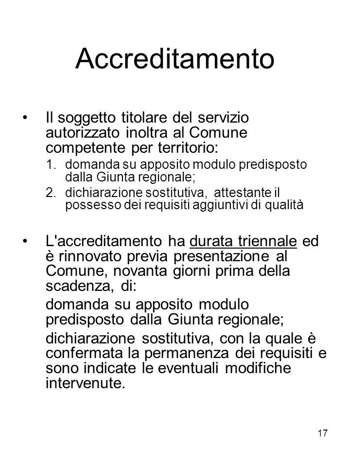 17 Accreditamento Il soggetto titolare del servizio autorizzato inoltra al Comune competente per territorio: 1.domanda su apposito modulo predisposto