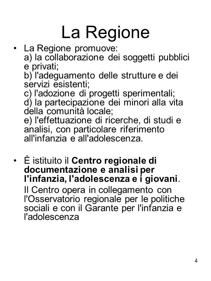 4 La Regione La Regione promuove: a) la collaborazione dei soggetti pubblici e privati; b) l'adeguamento delle strutture e dei servizi esistenti; c) l