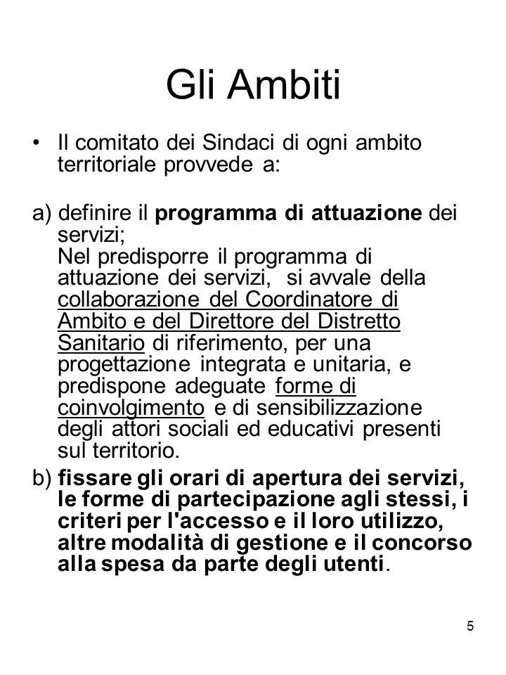 5 Gli Ambiti Il comitato dei Sindaci di ogni ambito territoriale provvede a: a) definire il programma di attuazione dei servizi; Nel predisporre il pr