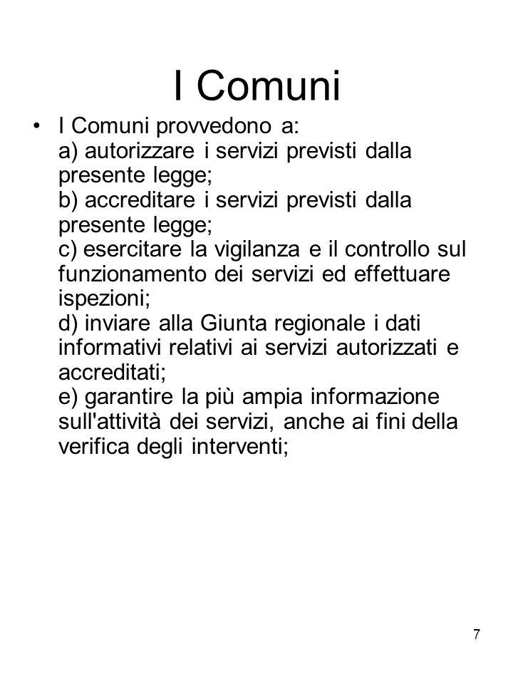 7 I Comuni I Comuni provvedono a: a) autorizzare i servizi previsti dalla presente legge; b) accreditare i servizi previsti dalla presente legge; c) e