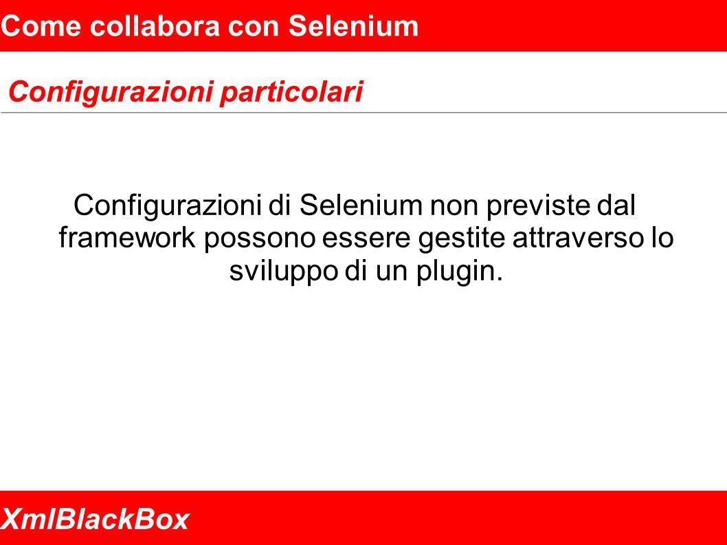 XmlBlackBox Come collabora con Selenium Configurazioni particolari Configurazioni di Selenium non previste dal framework possono essere gestite attraverso lo sviluppo di un plugin.