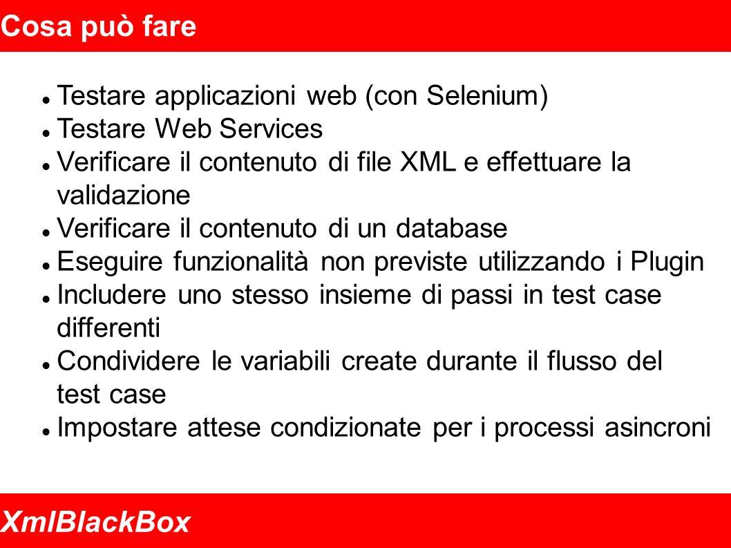 XmlBlackBox Cosa può fare Testare applicazioni web (con Selenium) Testare Web Services Verificare il contenuto di file XML e effettuare la validazione Verificare il contenuto di un database Eseguire funzionalità non previste utilizzando i Plugin Includere uno stesso insieme di passi in test case differenti Condividere le variabili create durante il flusso del test case Impostare attese condizionate per i processi asincroni