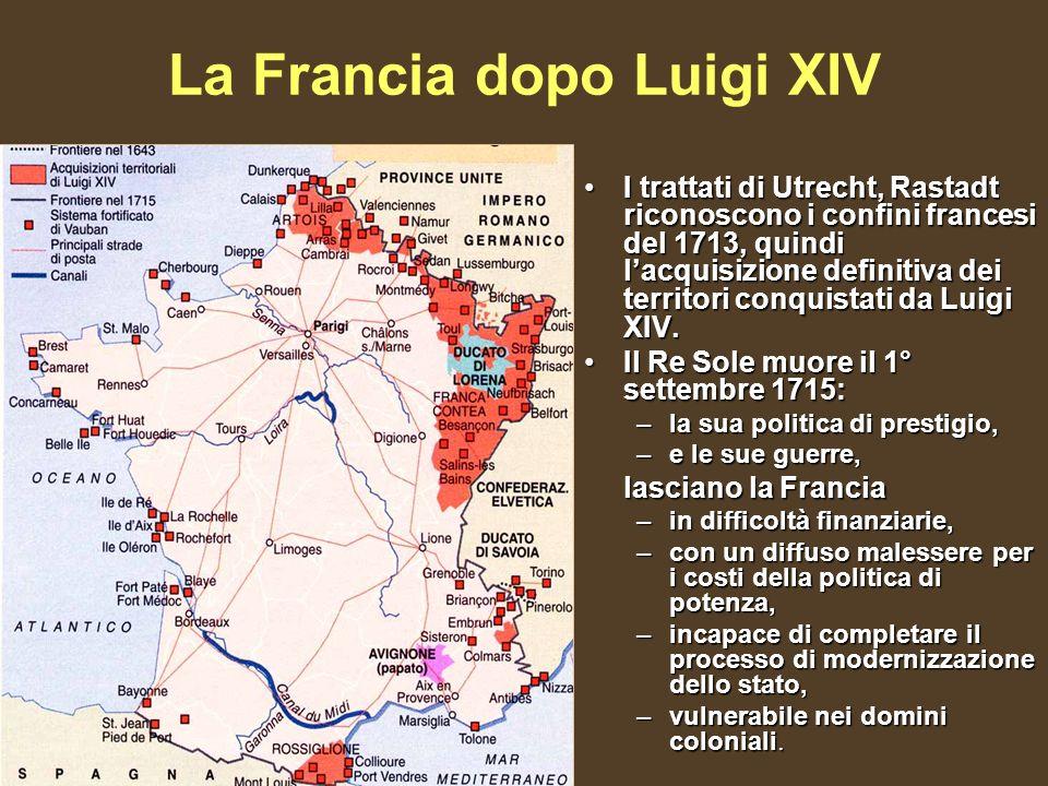 La Francia dopo Luigi XIV I trattati di Utrecht, Rastadt riconoscono i confini francesi del 1713, quindi lacquisizione definitiva dei territori conquistati da Luigi XIV.I trattati di Utrecht, Rastadt riconoscono i confini francesi del 1713, quindi lacquisizione definitiva dei territori conquistati da Luigi XIV.
