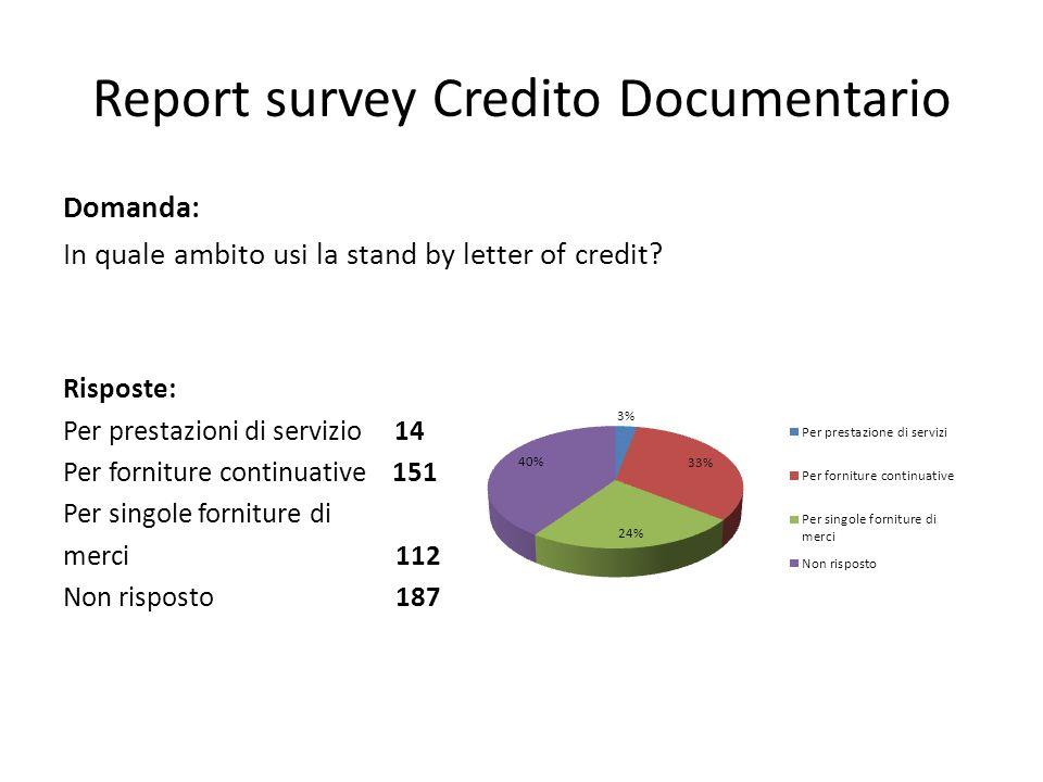 Report survey Credito Documentario Domanda: In quale ambito usi la stand by letter of credit? Risposte: Per prestazioni di servizio 14 Per forniture c