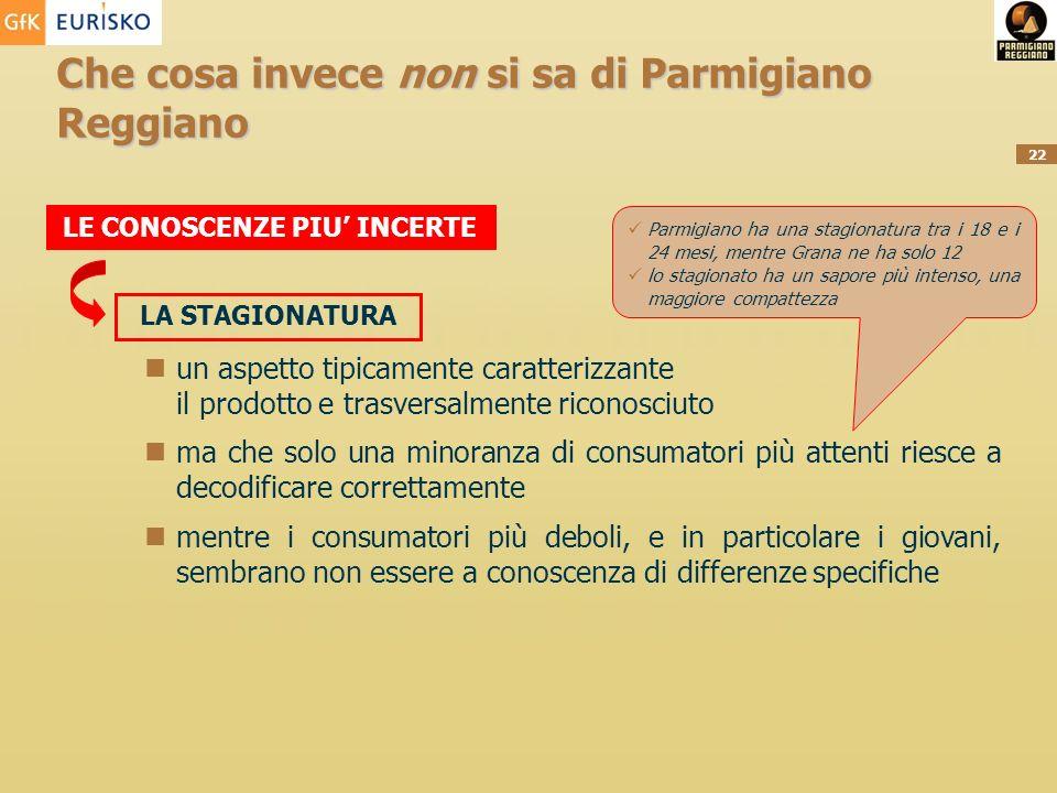 22 Che cosa invece non si sa di Parmigiano Reggiano LE CONOSCENZE PIU INCERTE LA STAGIONATURA Parmigiano ha una stagionatura tra i 18 e i 24 mesi, men