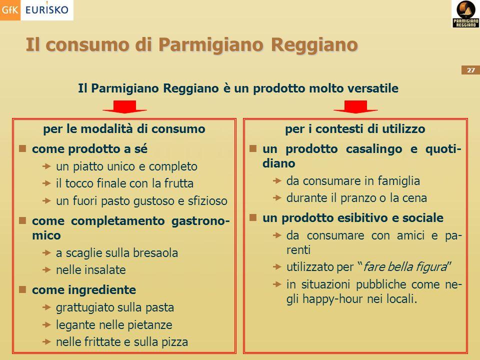 27 Il consumo di Parmigiano Reggiano Il Parmigiano Reggiano è un prodotto molto versatile per le modalità di consumo come prodotto a sé un piatto unic