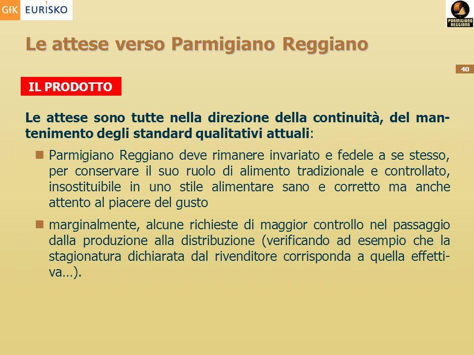 40 Le attese verso Parmigiano Reggiano Le attese sono tutte nella direzione della continuità, del man- tenimento degli standard qualitativi attuali: P