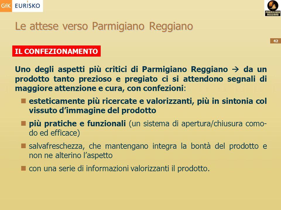 42 Le attese verso Parmigiano Reggiano Uno degli aspetti più critici di Parmigiano Reggiano da un prodotto tanto prezioso e pregiato ci si attendono s